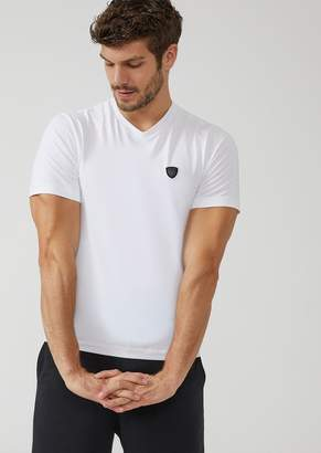 Emporio Armani V-Neck T-Shirt With Ea7 Maxi Logo On The Back