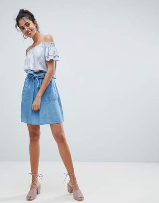 Oasis Paperbag Waist Chambray Mini Skirts