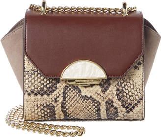 BCBGMAXAZRIA Lorelie Python-Embossed Leather & Suede Shoulder Bag