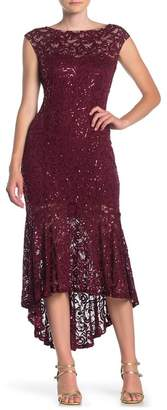 Marina Sequin Lace Cap Sleeve High/Low Midi Dress