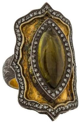 Sevan Biçakci Carved Tourmaline & Diamond Tulip Cocktail Ring