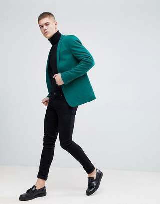 Asos Design Super Skinny Blazer In Dark Green Jersey