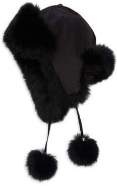 Surell Fox Fur Pom Ear Flap Hat