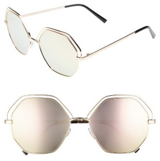 Women's A.j. Morgan Minx 56Mm Mirrored Round Sunglasses - Gold/ Pink Mirror $24 thestylecure.com