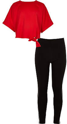 River Island Girls red tie side T-shirt and legging outfit