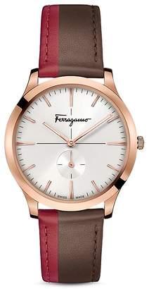 Salvatore Ferragamo Slim Formal Brown & Red Strap Watch, 40mm