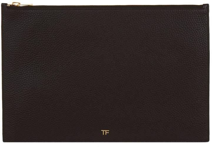 TOM FORD Leather Pouch, Black, One Size
