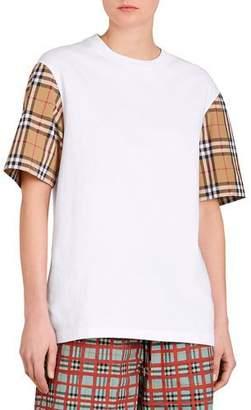 Burberry Serra Tee w/ Check Sleeves