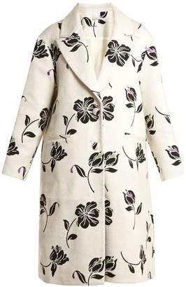 HUISHAN ZHANG Alison floral-jacquard single-breasted coat