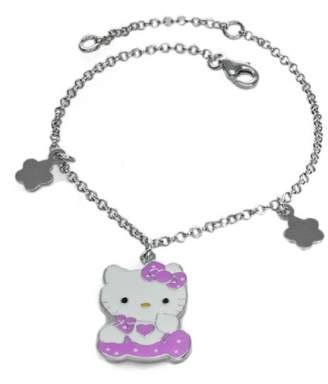 Hello Kitty P-BRKT10-V-HK Girl's Girl's Bracelet Silver-Plated/White 17 cm