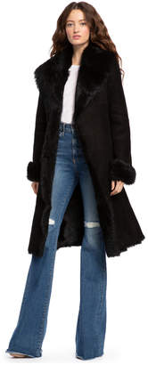 Alice + Olivia Jacks Black Shearling Long Coat