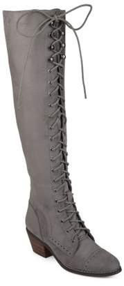 Brinley Co. Womens Faux Suede Over-the-knee Lace-up Brogue Boots