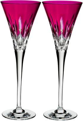 Waterford Lismore Pops Set of 2 Hot Pink Lead Crystal Champagne Flutes