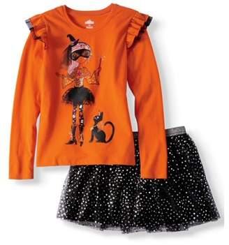 HALLOWEEN Halloween Ruffle Long Sleeve T-Shirt & Foil Mesh Skirt, 2-Piece Outfit Set (Little Girls & Big Girls)
