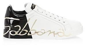 Dolce & Gabbana Dolce& Gabbana Dolce& Gabbana Women's Monochrome Logo Leather Sneakers