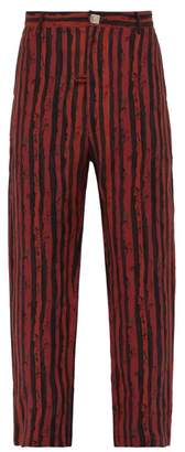 Martine Rose Double Pocket Striped Linen Trousers - Mens - Red