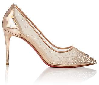 Christian Louboutin Women's Follies Crystal-Embellished Mesh & Leather Pumps