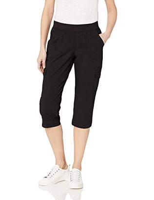 Lee Women's Petite Flex-to-Go Relaxed Fit Pull-On Cargo Rolled Hem Capri