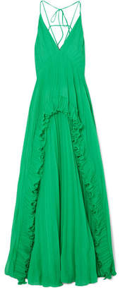 Halston Ruffled Plissé-chiffon Maxi Dress - Green