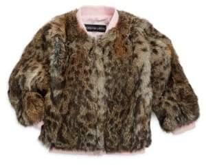 Adrienne Landau Girl's Leopard-Print Fur Varsity Jacket