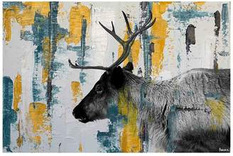 Parvez Taj Teal Yellow Reindeer Canvas Wall Art