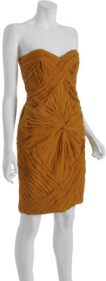 Castle Starr marigold ruched silk chiffon strapless dress