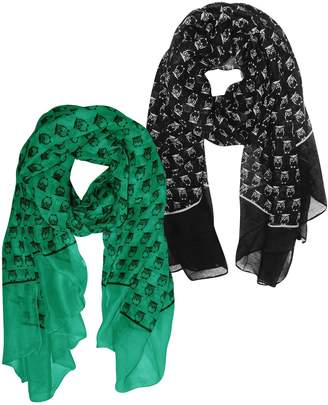 Couture Peach Beautiful Lightweight Soft Animal Owl Printed Scarf Wrap Shawl Black & Teal