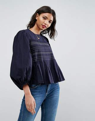 Asos Design Pleat Detail Top With Contrast Stitching