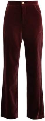 MiH Jeans Paradise Wide Leg Velvet Trousers - Womens - Burgundy