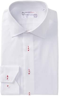 Lorenzo Uomo Box Weave Trim Fit Dress Shirt