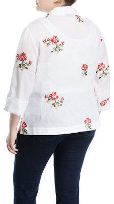 Neiman Marcus Plus Embroidered Tie-Front Linen Blouse, Plus Size