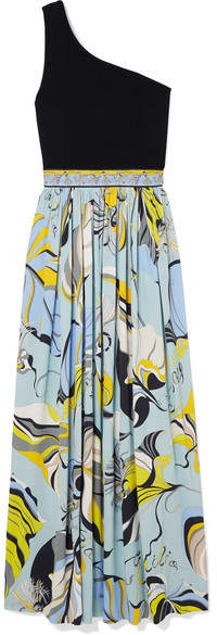 One-shoulder Stretch-knit And Printed Crepe Maxi Dress - Blue