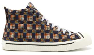 Burberry - Printed Canvas High Top Trainers - Mens - Navy