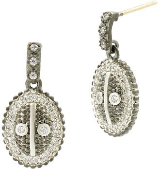 Freida Rothman Pave Oval Drop Earrings