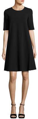 Lafayette 148 New York Charmeuse-Trimmed Half-Sleeve Shift Dress