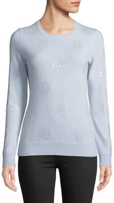 Neiman Marcus Cashmere Rhinestone-Dot Sweater, Light Blue