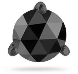 Black Diamond Vogati 3/4 (0.71-0.80) Cts of 5.40-6.00 mm AA Round Rose cut Men's Stud Earrings in 14K Blackened White Gold