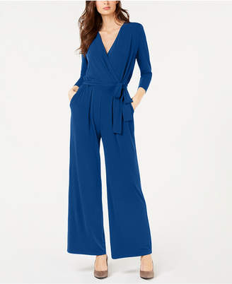Alfani Petite Solid 3/4 Sleeve Jumpsuit