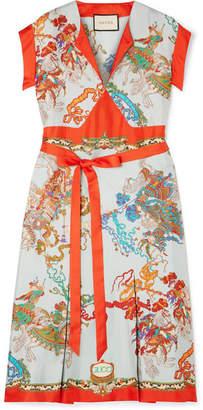 Gucci Printed Silk-twill Dress - Red