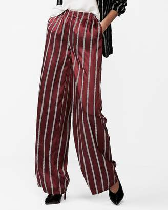 Express Petite Mid Rise Striped Wide Leg Dress Pants