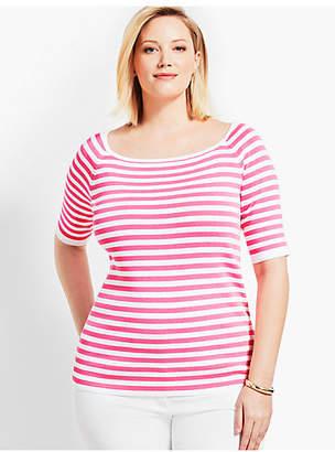 Talbots Square-Neck Elbow-Sleeve Sweater Topper-Resort Stripe