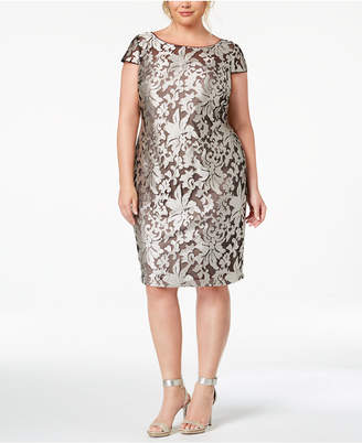 Calvin Klein Plus Size Damask Embroidered Dress