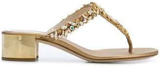 Rene Caovilla crystal embellished block heel sandals