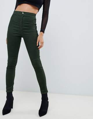 Asos DESIGN Rivington high waisted cord jegging in khaki