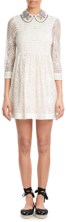 RED Valentino R.E.D. Valentino Smocked Lace Dress with Collar