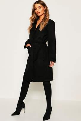 boohoo Belted Shawl Collar Wool Look Coat