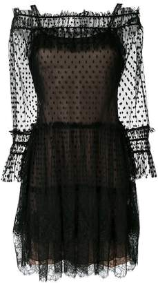 Alberta Ferretti polka dot sheer tulle dress