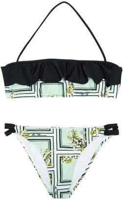 Miss Blumarine ruffle printed bikini