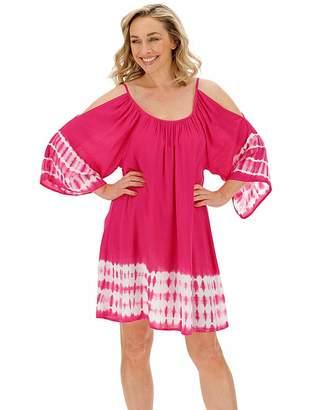 7069891150 Jd Williams Pink Tie Dye Swing Cold Shoulder Dress