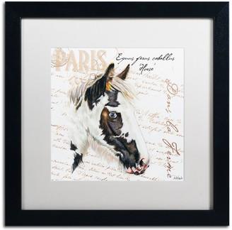 """Trademark Fine Art Dans """"la Ferme"""" Horse Black Framed Wall Art"""